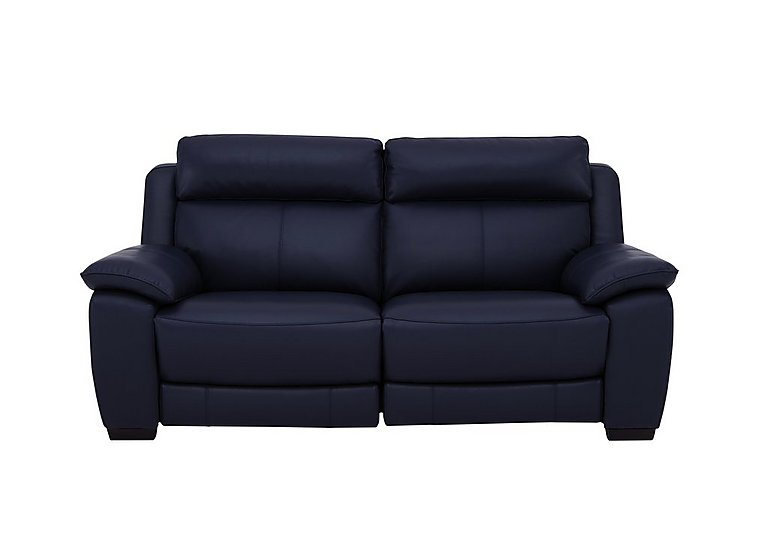 Starlight Express 2 Seater Leather Recliner Sofa with Power Headrests in Bv-3520 Navy Blue on Furniture Village