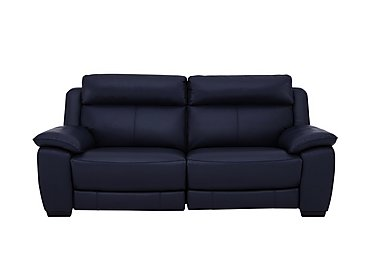 Starlight Express 3 Seater Leather Recliner Sofa with Power Headrests in Bv-3520 Navy Blue on FV