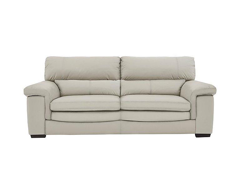 Georgia 3 Seater Leather Sofa in Bv-946b Silver Grey on Furniture Village