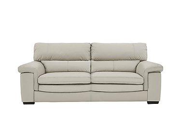 Georgia 3 Seater Leather Sofa in Bv-946b Silver Grey on FV