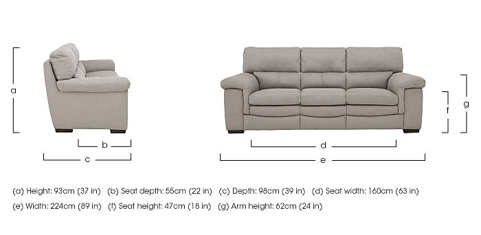 Georgia 3 Seater Fabric Sofa in  on FV