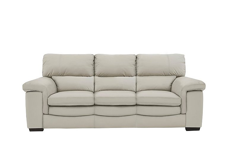 Georgia 3 Seater Leather Sofa in Bv-946b Silver Grey on FV