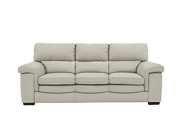 Georgia 3 Seater Leather Sofa in Bv-946b Silver Grey on Furniture Village