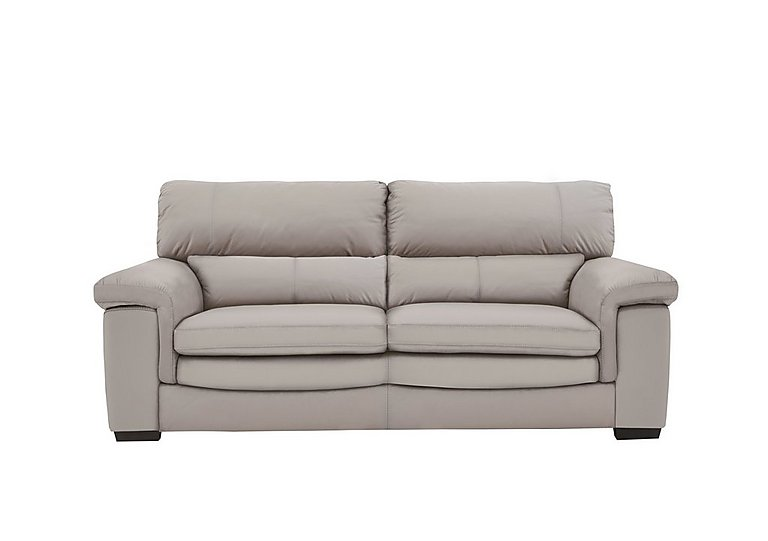 Georgia 2 Seater Leather Sofa in Bv-946b Silver Grey on Furniture Village