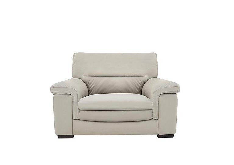 Georgia Leather Armchair in Bv-946b Silver Grey on Furniture Village