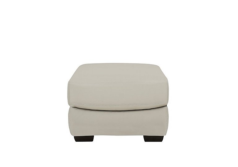 Georgia Leather Storage Footstool in Bv-946b Silver Grey on Furniture Village