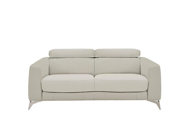 Flavio 2 Seater Leather Sofa in Bv-946b Silver Grey on Furniture Village