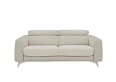 Flavio 3 Seater Leather Sofa in Bv-946b Silver Grey on FV