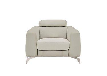 Flavio Leather Armchair in Bv-946b Silver Grey on Furniture Village