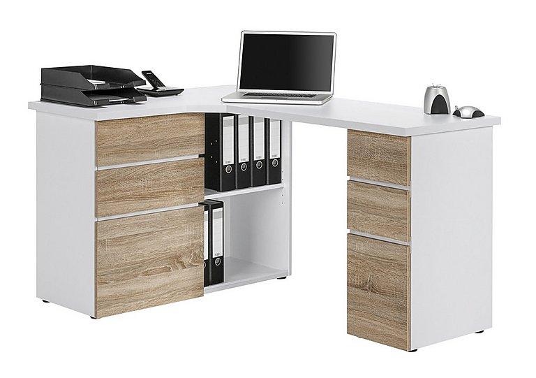 South Street Fulton Computer Desk in Icy White & Sonoma Oak on Furniture Village