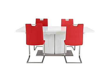 Grande Small Extending Table and 4 Chairs in Red on FV