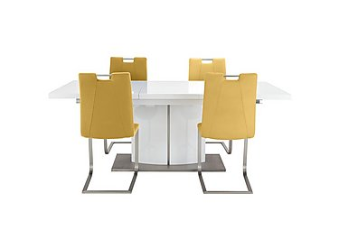 Grande Small Extending Table and 4 Chairs in Yellow on Furniture Village