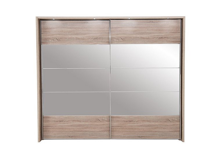 Laguna 2 Door Slider Wardrobe With Lights 260cm in Lt Rustic Oak/Mirrors on Furniture Village