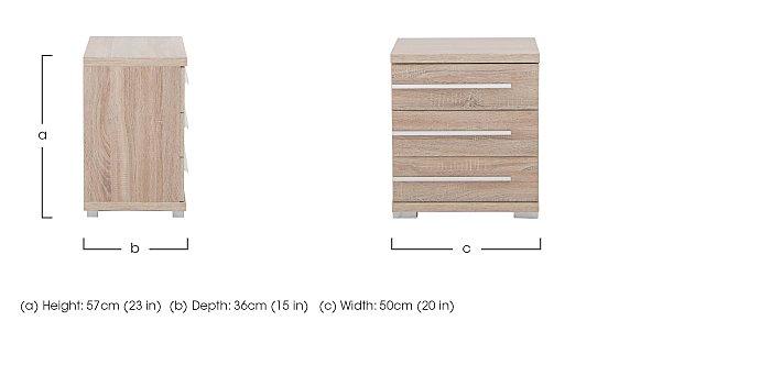 Laguna 3 Drawer Bedside Table Right Side Handles in  on Furniture Village