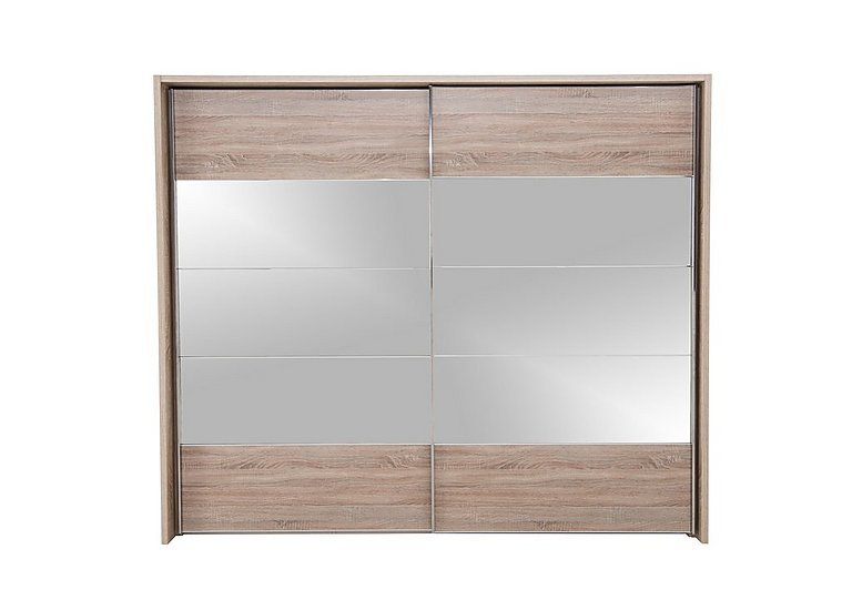 Laguna 2 Door Slider Wardrobe 260cm in Lt Rustic Oak/Mirrors on Furniture Village