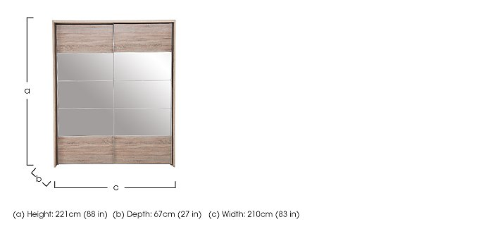 Laguna 2 Door Slider Wardrobe With Lights 210cm in  on Furniture Village