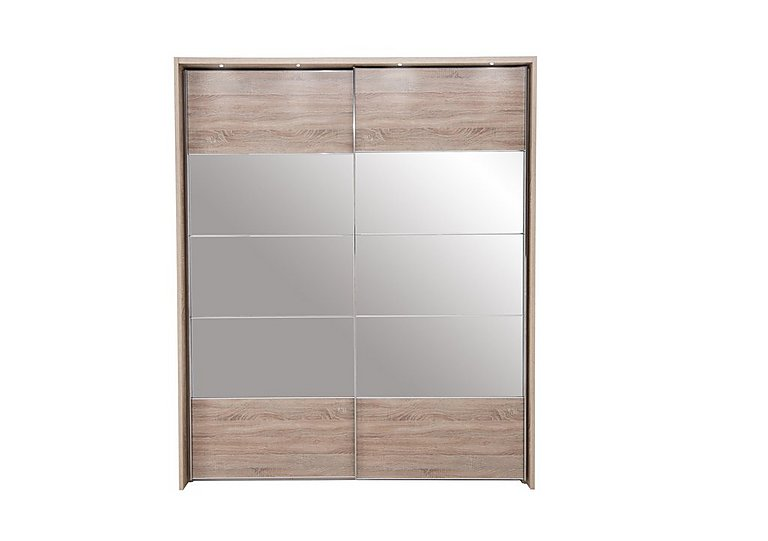Laguna 2 Door Slider Wardrobe With Lights 210cm in Lt Rustic Oak/Mirrors on Furniture Village