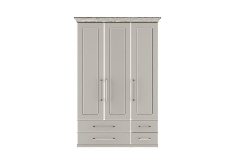 Eaton 3 Door 4 Drawer Wardrobe in Ezgv Soft Gry-Arizona Lght Gry on Furniture Village