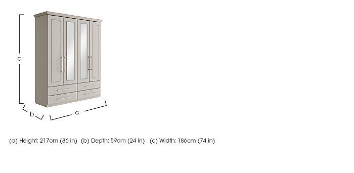 Eaton 4 Door 4 Drawer Centre Mirror Wardrobe in  on Furniture Village