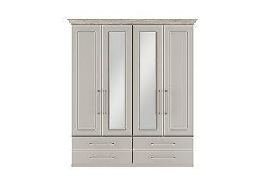 Eaton 4 Door 4 Drawer Centre Mirror Wardrobe in Ezgv Soft Gry-Arizona Lght Gry on Furniture Village