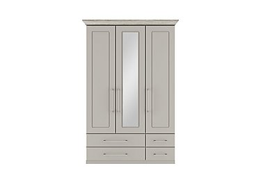 Eaton 3 Door 4 Drawer Centre Mirror Wardrobe in Ezgv Soft Gry-Arizona Lght Gry on FV