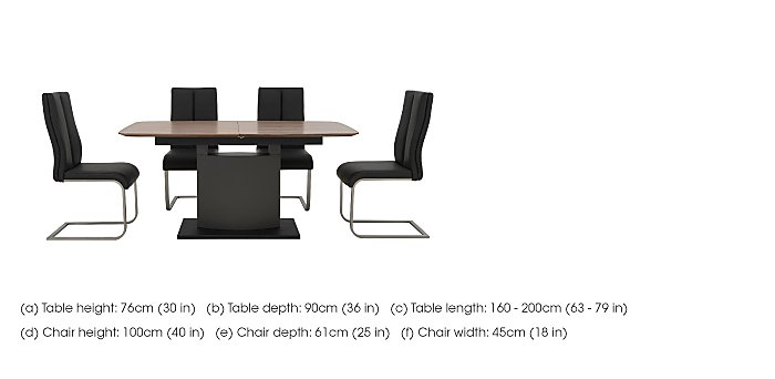 Moda Extending Dining Table and 4 Faux Leather Chairs in  on Furniture Village