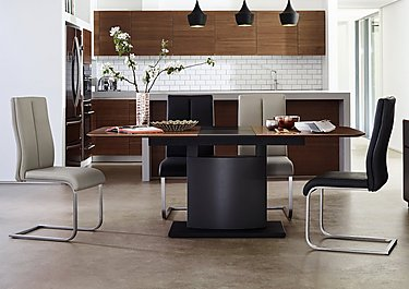Moda Extending Dining Table and 4 Faux Leather Chairs in  on FV