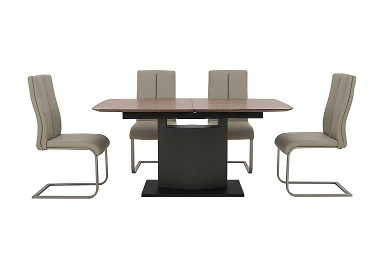 Moda Extending Dining Table and 4 Faux Leather Chairs