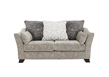 Annalise II 2 Seater Fabric Pillow Back Sofa in Crombie Plain Silver Opt1 Dk on FV