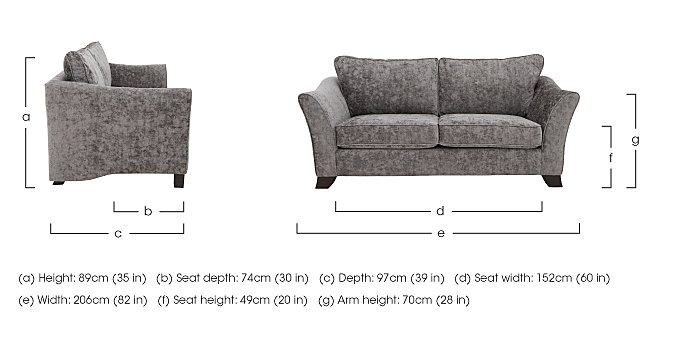 Annalise II 3 Seater Fabric Sofa in  on FV