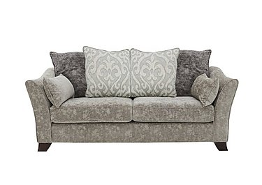 Annalise II 3 Seater Fabric Pillow Back Sofa in Crombie Plain Truffle Opt1 Dk on FV
