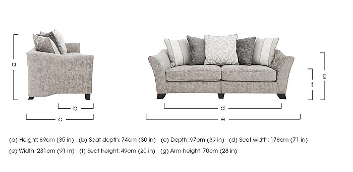 Annalise II 4 Seater Split Frame Fabric Pillow Back Sofa in  on Furniture Village