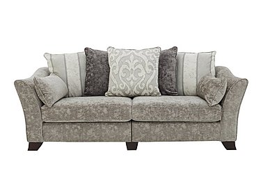 Annalise II 4 Seater Split Frame Fabric Pillow Back Sofa in Crombie Plain Truffle Opt1 Dk on Furniture Village