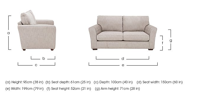 The Avenue Collection Madison Avenue 2 Seater Fabric Sofa in  on FV