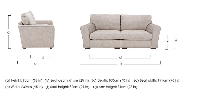 The Avenue Collection Madison Avenue 4 Seater Split Back Fabric Sofa in  on Furniture Village