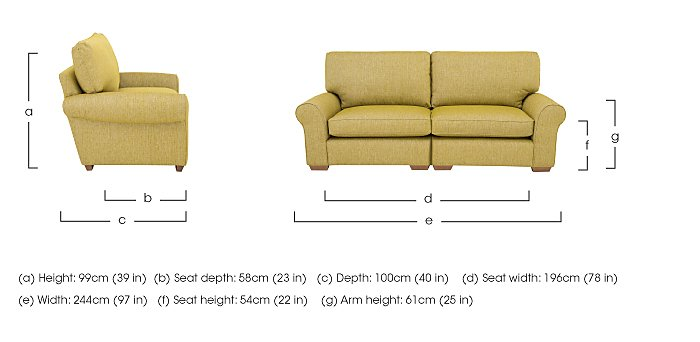 The Avenue Collection Park Avenue 4 Seater Split Back Fabric Sofa in  on FV