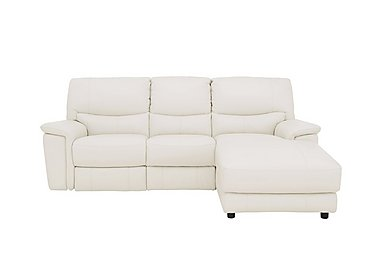 Relax Station Bliss Leather Recliner Corner Chaise in Bv-744d Star White on FV