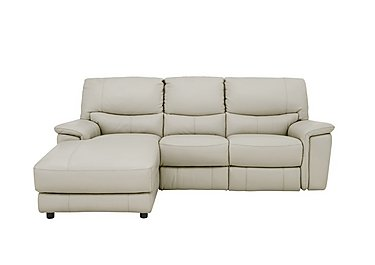 Relax Station Bliss Leather Recliner Corner Chaise in Bv-946b Silver Grey on Furniture Village