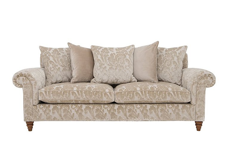 The Prestige Collection Knightsbridge 4 Seater Fabric Pillow Back Sofa in 94965-02 Blessington Sand on Furniture Village