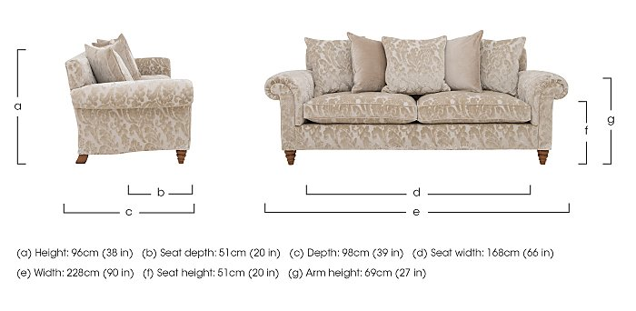 The Prestige Collection Knightsbridge 4 Seater Fabric Pillow Back Sofa in  on Furniture Village
