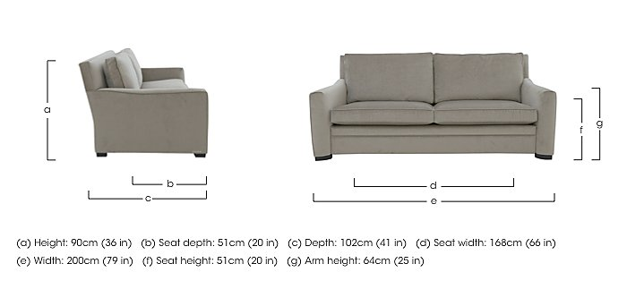 The Prestige Collection Bayswater 3 Seater Fabric Sofa in  on Furniture Village