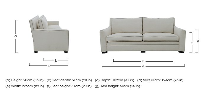 The Prestige Collection Bayswater 4 Seater Fabric Sofa in  on Furniture Village
