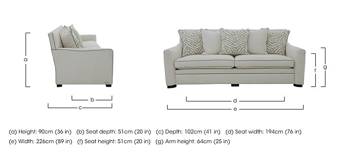 The Prestige Collection Bayswater 4 Seater Fabric Pillow Back Sofa in  on Furniture Village