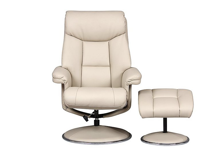 Bruges Fabric Swivel Chair and Footstool in Biarritz Bone Plush on Furniture Village