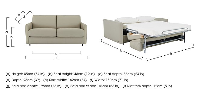 Alcova 2.5 Seater Leather Sofa Bed with Slim Arms in  on Furniture Village