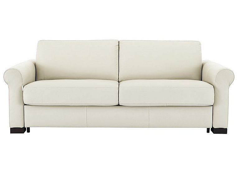 Alcova 3 Seater Leather Sofa Bed with Scroll Arms