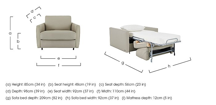 Alcova Leather Sofa Bed Chair with Slim Arms in  on Furniture Village