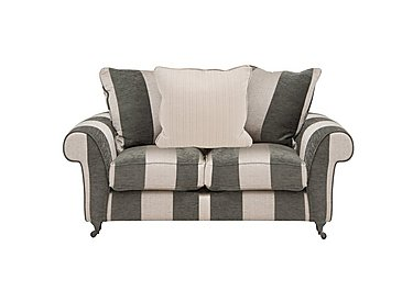 Wellington 2 Seater Pillow Back Fabric Sofa in Altan Stripe Steel - Sm/Nc on Furniture Village