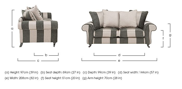 Wellington 3 Seater Pillow Back Fabric Sofa in  on Furniture Village