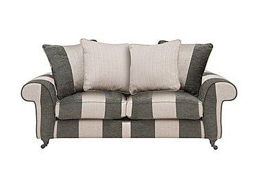 Wellington 3 Seater Pillow Back Fabric Sofa in Altan Stripe Steel - Sm/Nc on Furniture Village